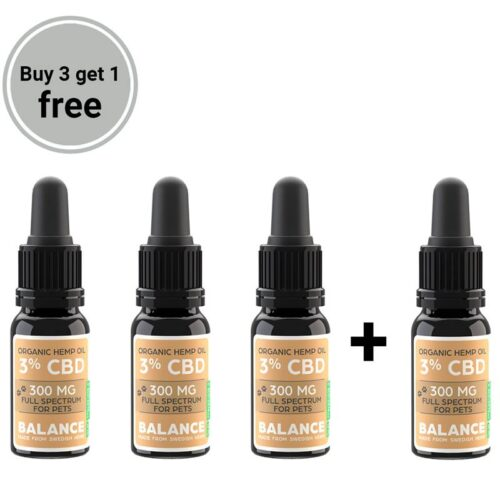 Buy 3 get 1 free bundle - CBD olie til dyr 3% (300mg)